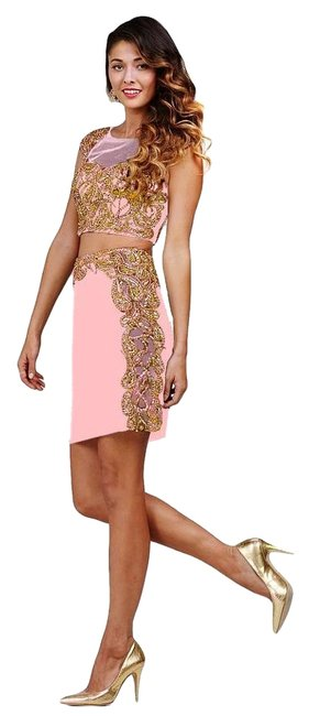 Jovani Pink Size 6 Homecoming Sheer Embroidery Straight Dress on Queenly