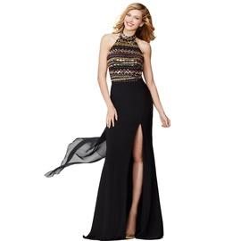 Jovani Black Size 6 Sequin Halter Train Dress on Queenly