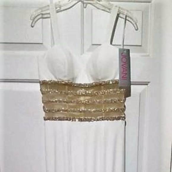 Jovani White Size 4 Sweetheart Straight Dress on Queenly