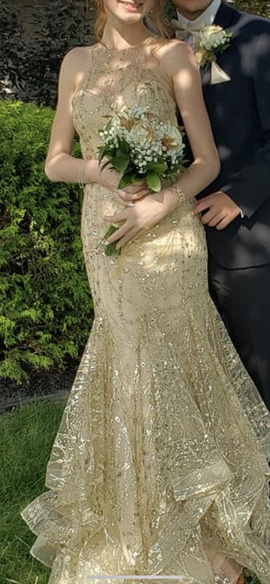 Queenly size 0 Clarisse Gold Mermaid evening gown/formal dress