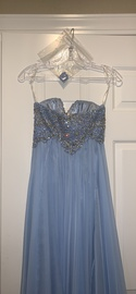 Sherri Hill Blue Size 0 Fitted A-line Dress on Queenly