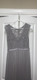David's Bridal Silver Size 2 Lace Bridesmaid Side slit Dress on Queenly