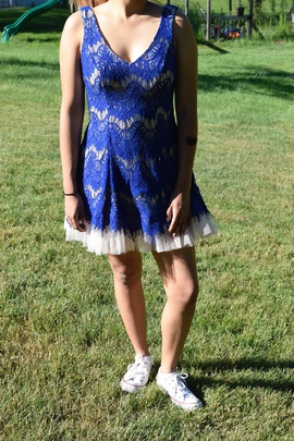 B Darlin Blue Size 8 Homecoming Mini A-line Dress on Queenly