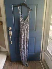 Queenly size 4 Windsor Silver Straight evening gown/formal dress