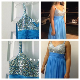 Queenly size 8 Dave & Johnny Blue A-line evening gown/formal dress