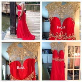 Queenly size 12 Alyce Paris Red Mermaid evening gown/formal dress