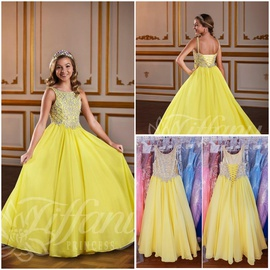 Queenly size 00 Tiffany Princess  Yellow A-line evening gown/formal dress