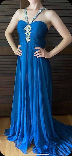 Queenly size 00  Blue Side slit evening gown/formal dress