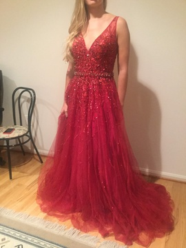 Jovani Red Size 10 Plunge Train A-line Dress on Queenly
