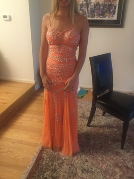 Queenly size 2 Sean Collection Orange Straight evening gown/formal dress