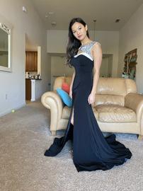Camille La Vie Black Size 4 Jewelled Train Dress on Queenly