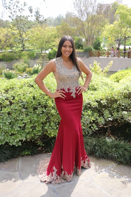 Queenly size 8  Red Mermaid evening gown/formal dress