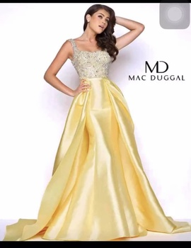Queenly size 6 Mac Duggal Yellow Ball gown evening gown/formal dress
