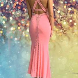 Jovani Light Pink Size 2 Cut Out Mermaid Dress on Queenly