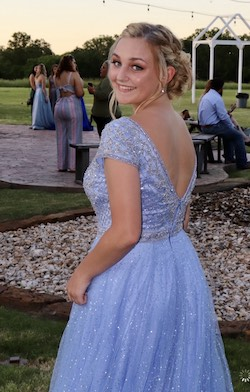 Sherri Hill Blue Size 8 Sleeves Backless Ball gown on Queenly