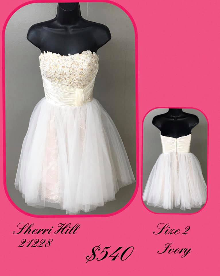Queenly size 2 Sherri Hill White Cocktail evening gown/formal dress