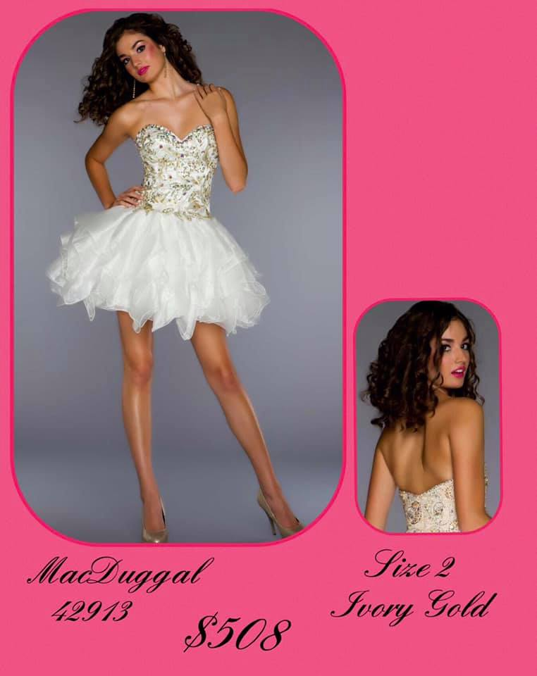 Queenly size 2 Mac Duggal White Cocktail evening gown/formal dress