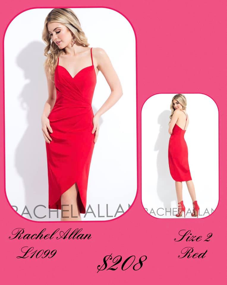 Queenly size 2 Rachel Allan Red Cocktail evening gown/formal dress