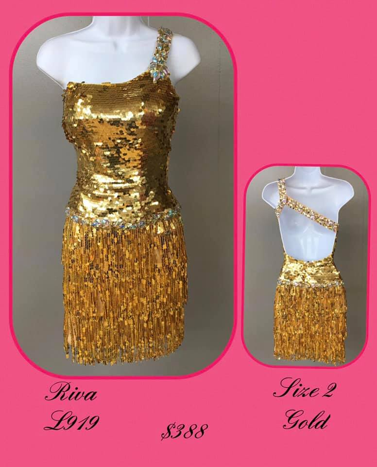 Queenly size 2 Riva Gold Cocktail evening gown/formal dress