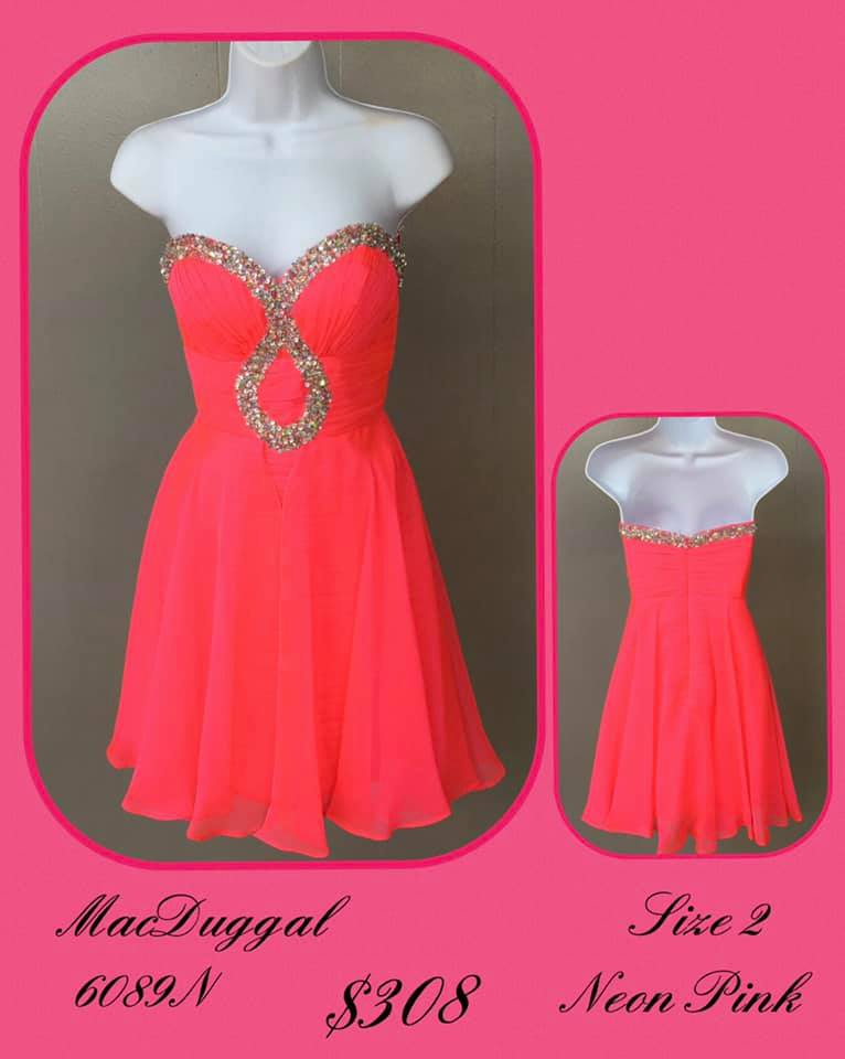 Queenly size 2 Mac Duggal Pink Cocktail evening gown/formal dress