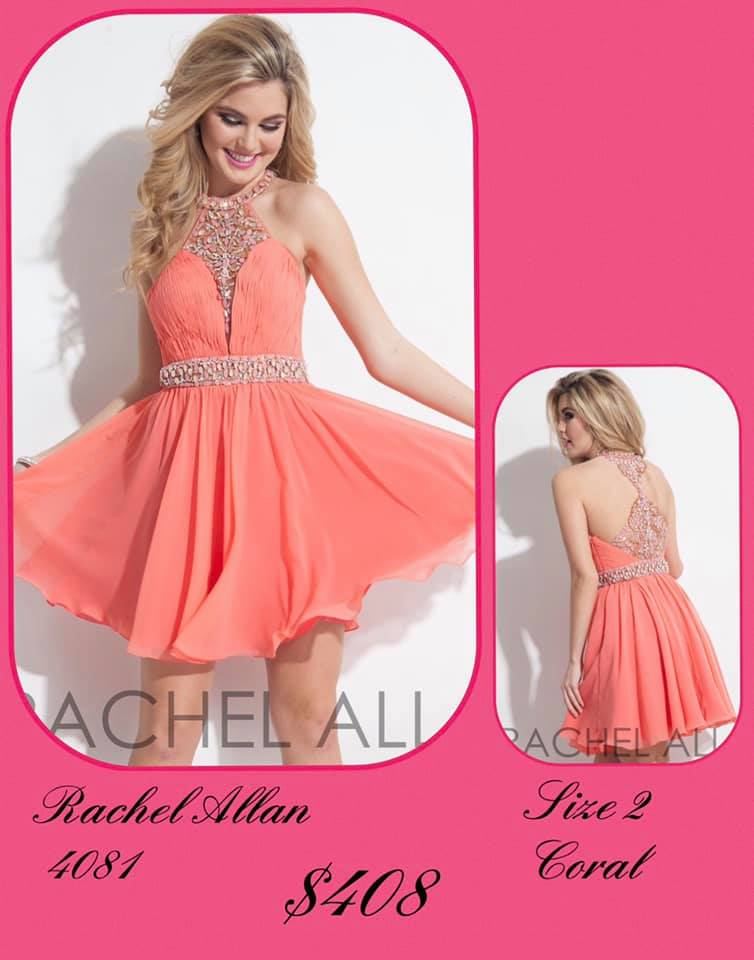 Queenly size 2 Rachel Allan Orange Cocktail evening gown/formal dress