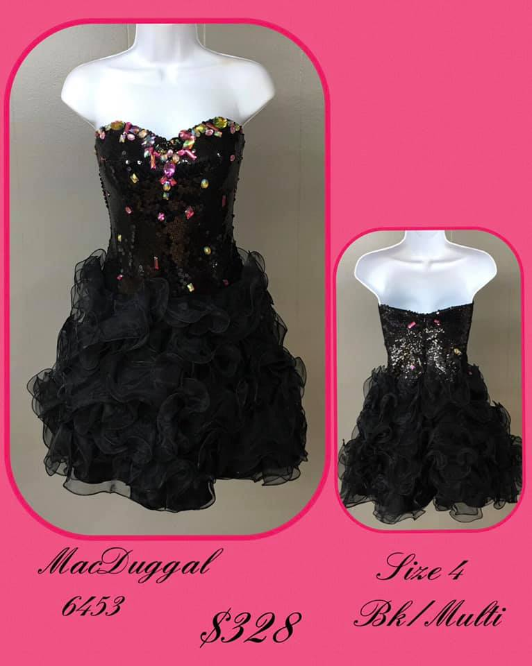 Queenly size 4 Mac Duggal Black Cocktail evening gown/formal dress