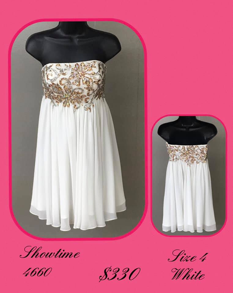 Queenly size 4 Showtime White Cocktail evening gown/formal dress
