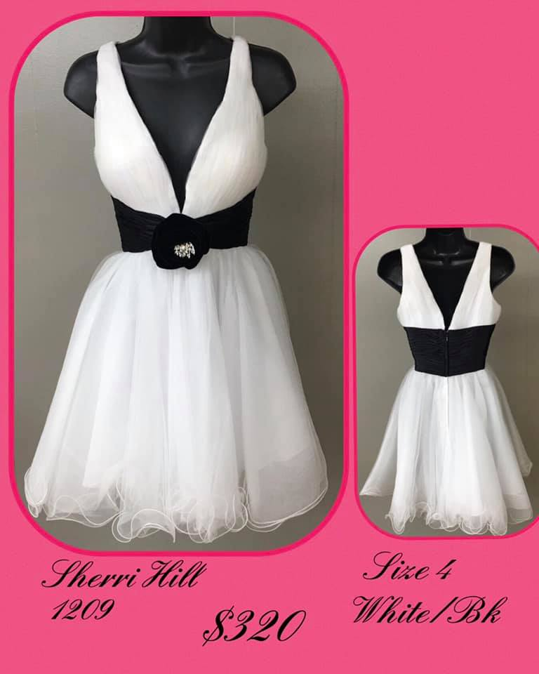 Queenly size 4 Sherri Hill White Cocktail evening gown/formal dress