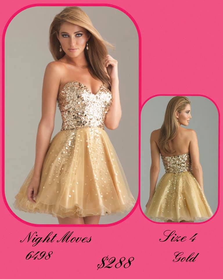 Queenly size 4 Night Moves Gold Cocktail evening gown/formal dress