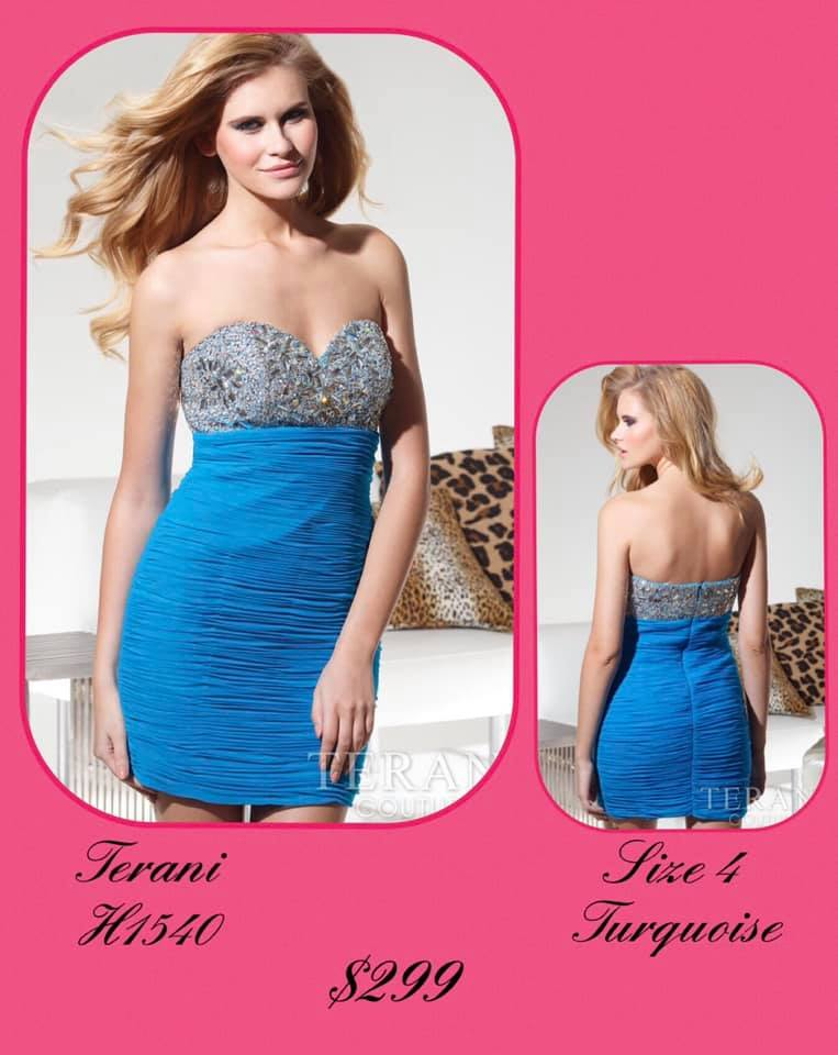 Queenly size 4 Terani Couture Blue Cocktail evening gown/formal dress
