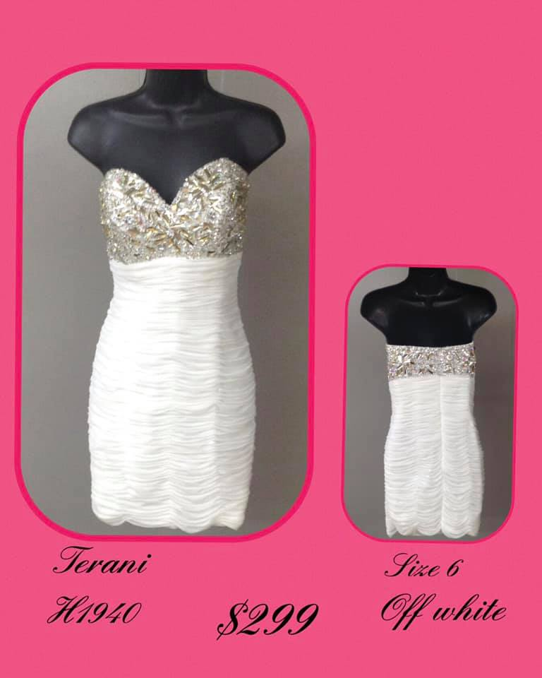 Queenly size 6 Terani Couture White Cocktail evening gown/formal dress