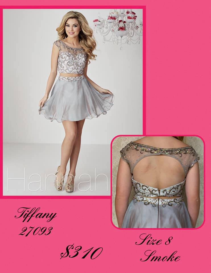 Queenly size 8 Tiffany Designs Silver Cocktail evening gown/formal dress