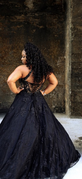 Alyce Paris Black Size 10 Halter Corset Sheer A-line Dress on Queenly