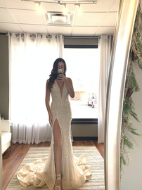 Queenly size 2  Nude Side slit evening gown/formal dress