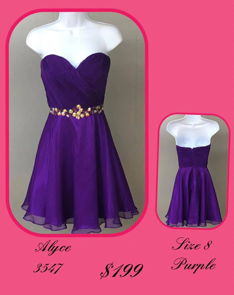 Queenly size 8 Alyce Paris Purple Cocktail evening gown/formal dress