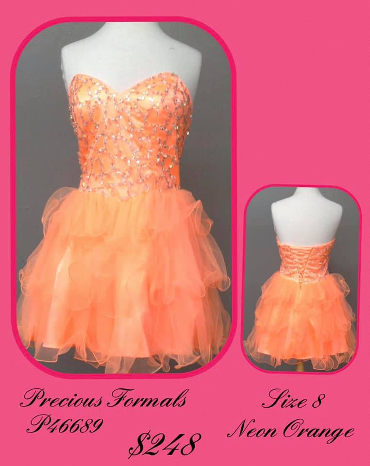 Queenly size 8 Precious Formals Orange Cocktail evening gown/formal dress