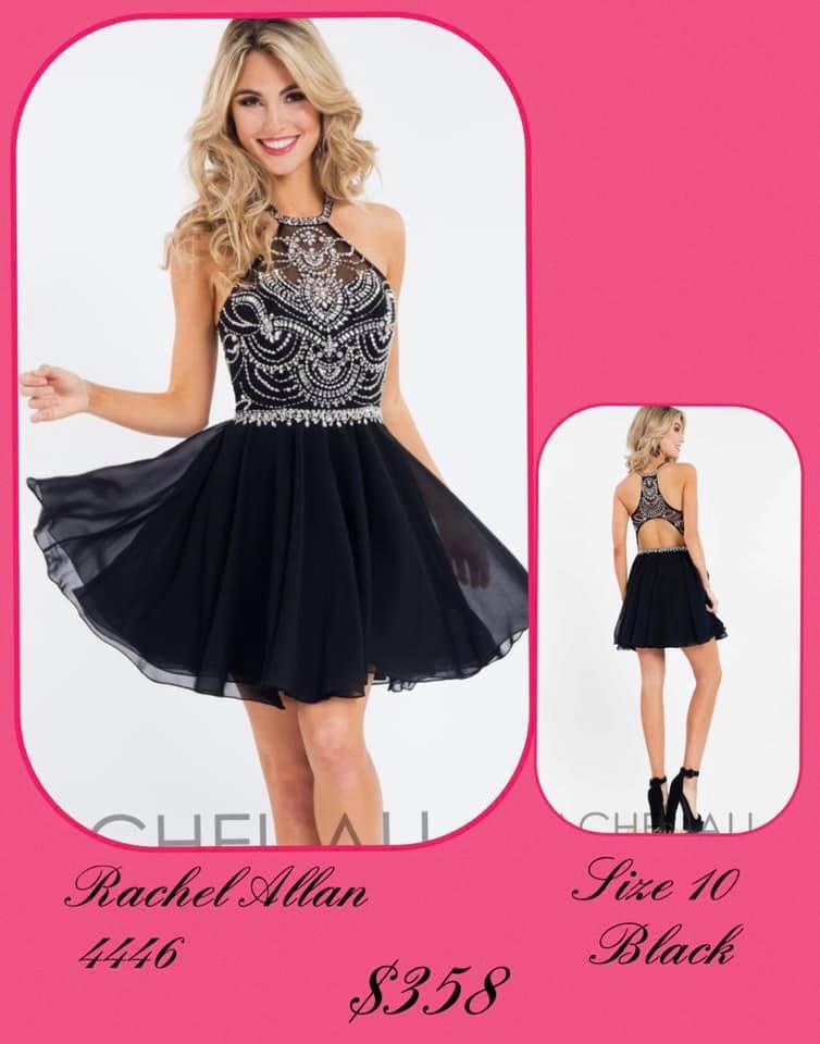 Queenly size 10 Rachel Allan Black Cocktail evening gown/formal dress