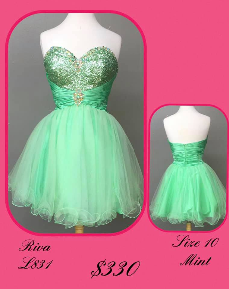 Queenly size 10 Riva Green Cocktail evening gown/formal dress
