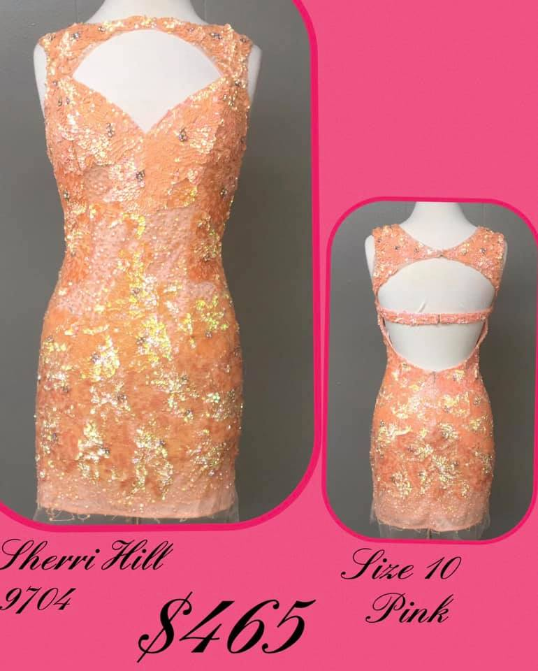 Queenly size 10 Sherri Hill Pink Cocktail evening gown/formal dress