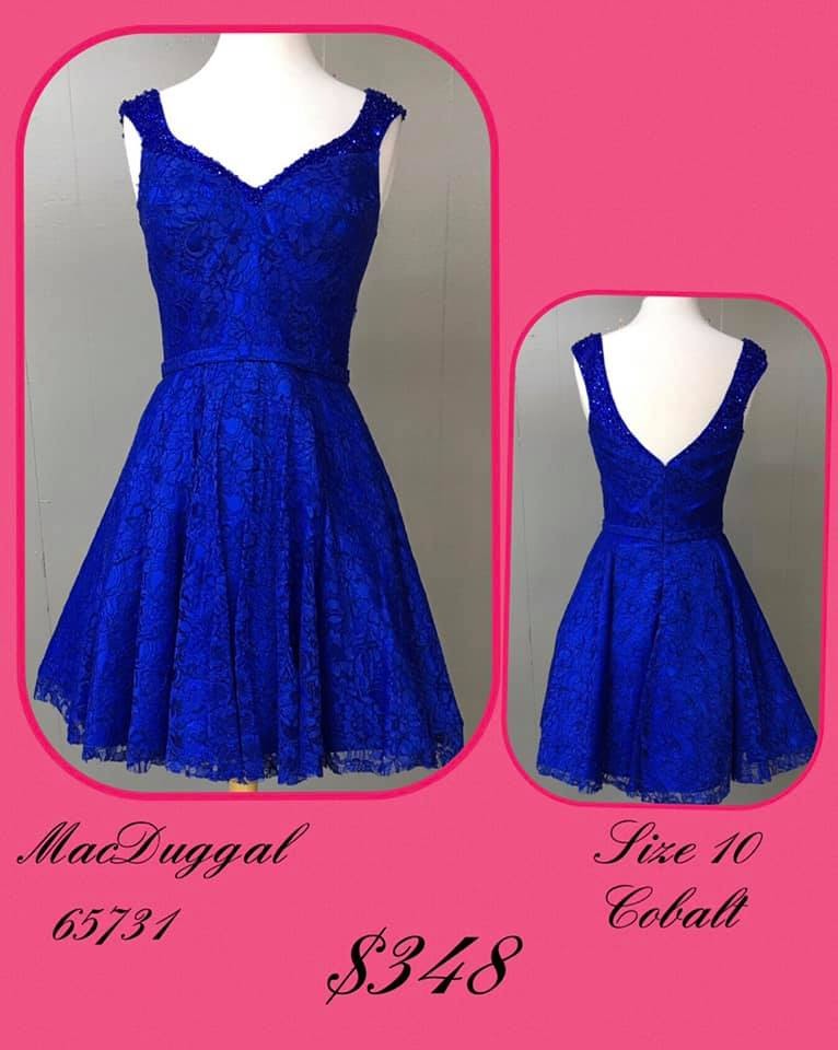 Queenly size 10 Mac Duggal Blue Cocktail evening gown/formal dress