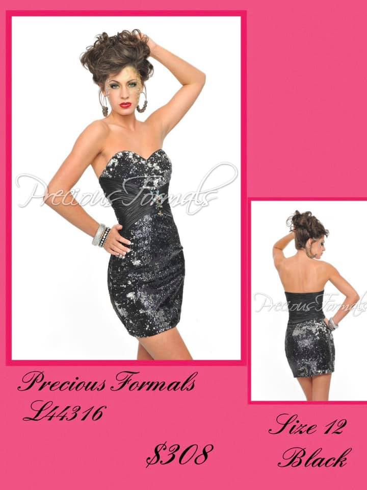 Queenly size 12 Precious Formals Black Cocktail evening gown/formal dress
