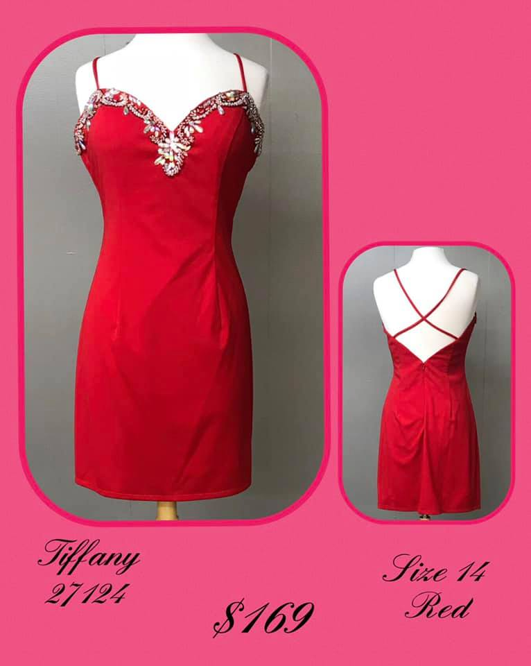 Queenly size 12 Tiffany Designs Red Cocktail evening gown/formal dress