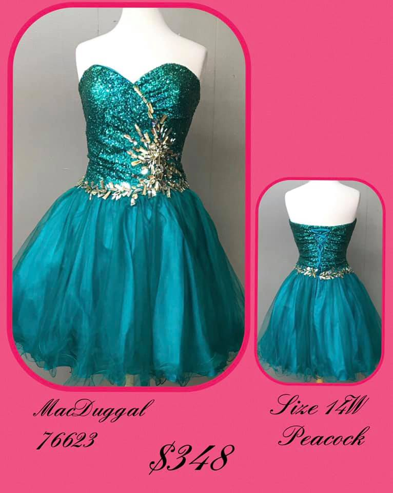 Queenly size 14 Mac Duggal Blue Cocktail evening gown/formal dress