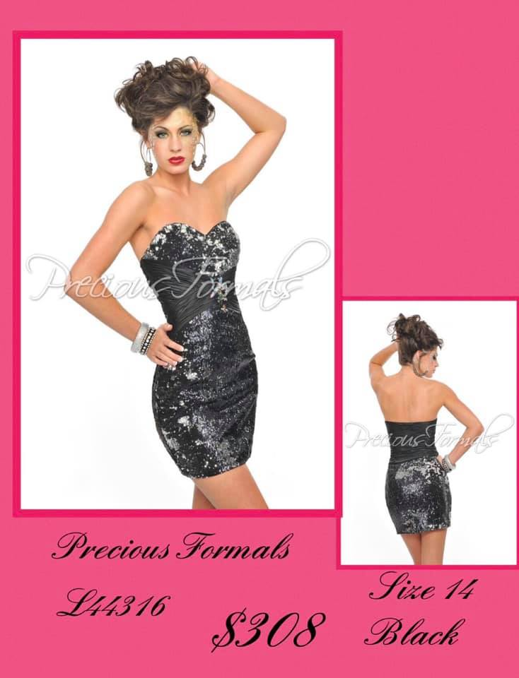 Queenly size 14 Precious Formals Black Cocktail evening gown/formal dress