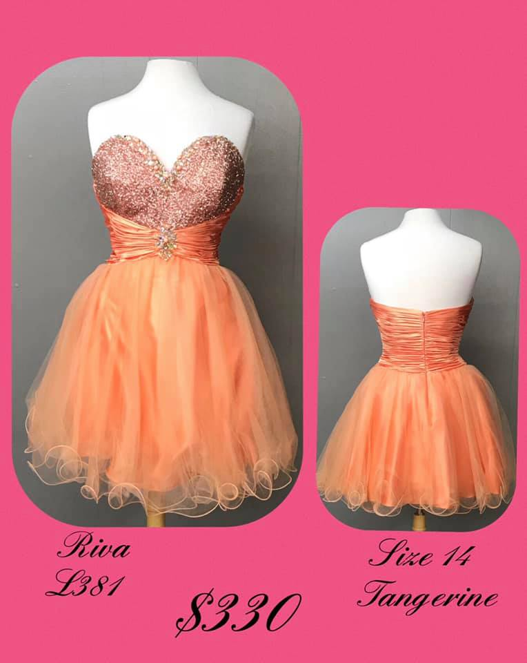 Queenly size 14 Riva Orange Cocktail evening gown/formal dress