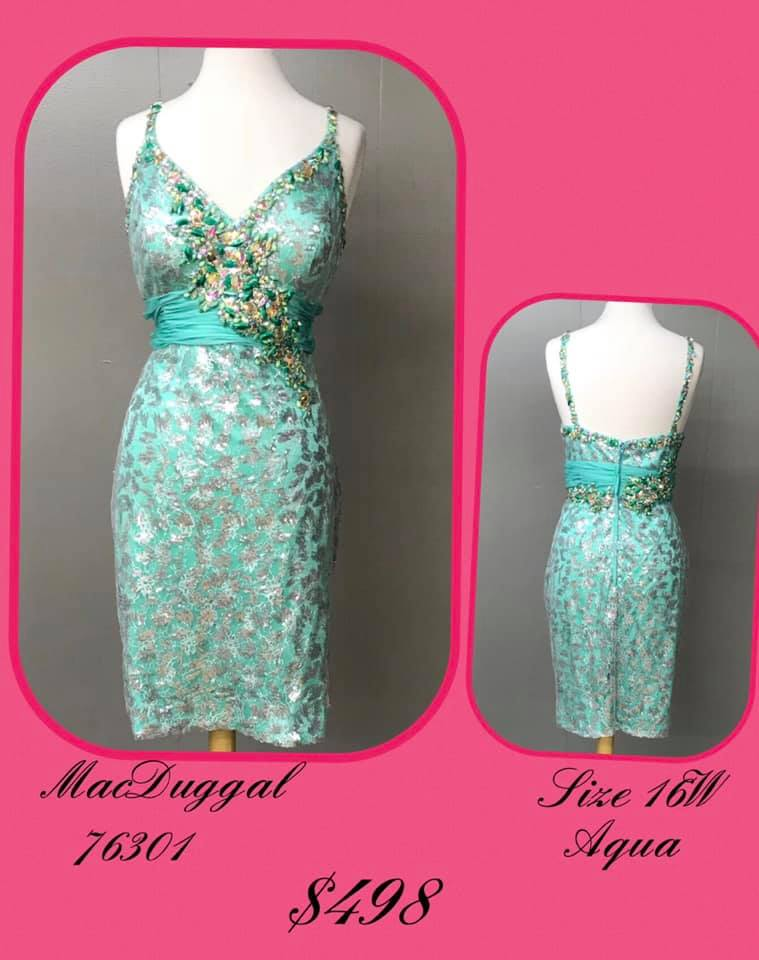 Queenly size 16 Mac Duggal Green Cocktail evening gown/formal dress