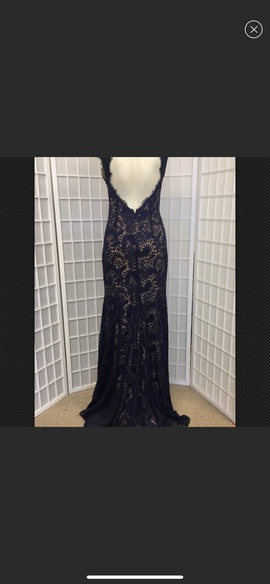 Jovani Blue Size 8 Lace Mermaid Dress on Queenly