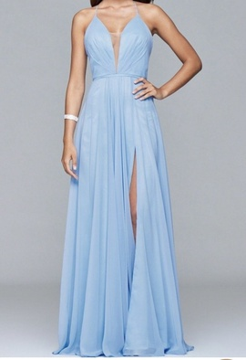 Queenly size 2 Faviana Blue A-line evening gown/formal dress