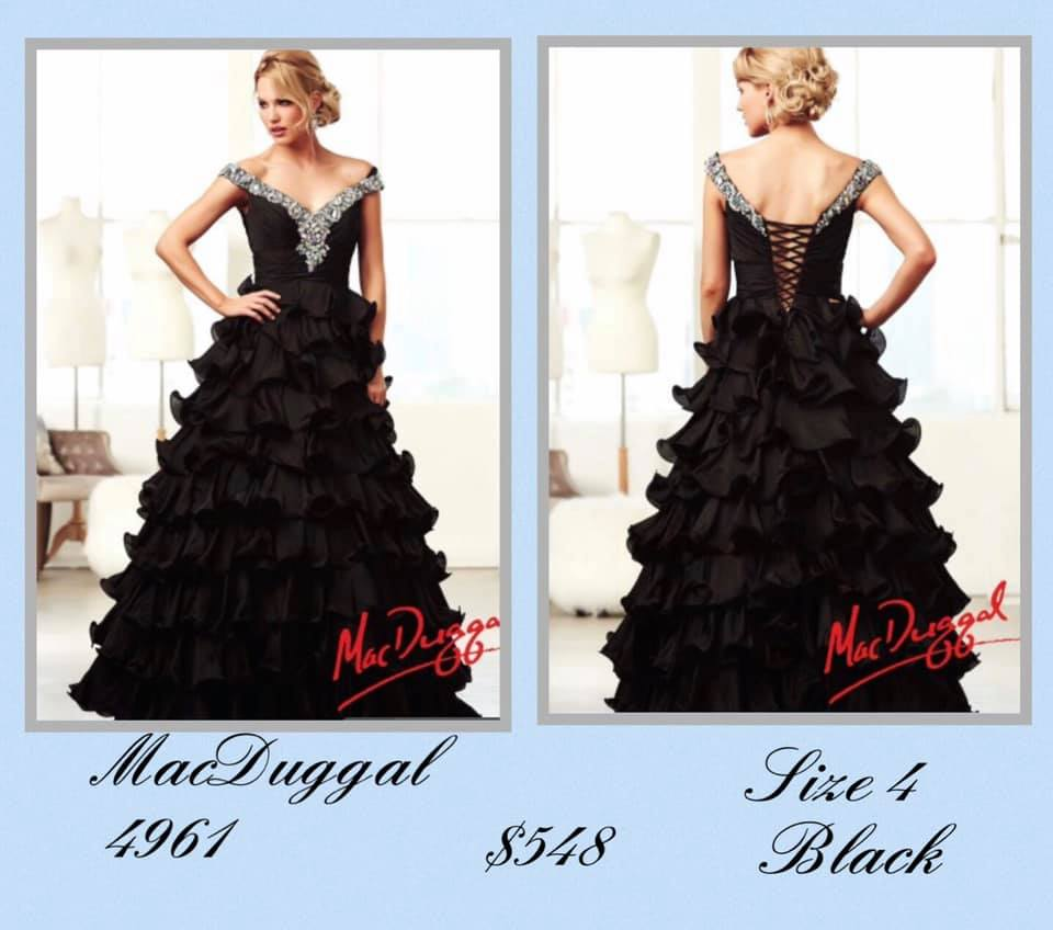 Queenly size 4 Mac Duggal Black Ball gown evening gown/formal dress