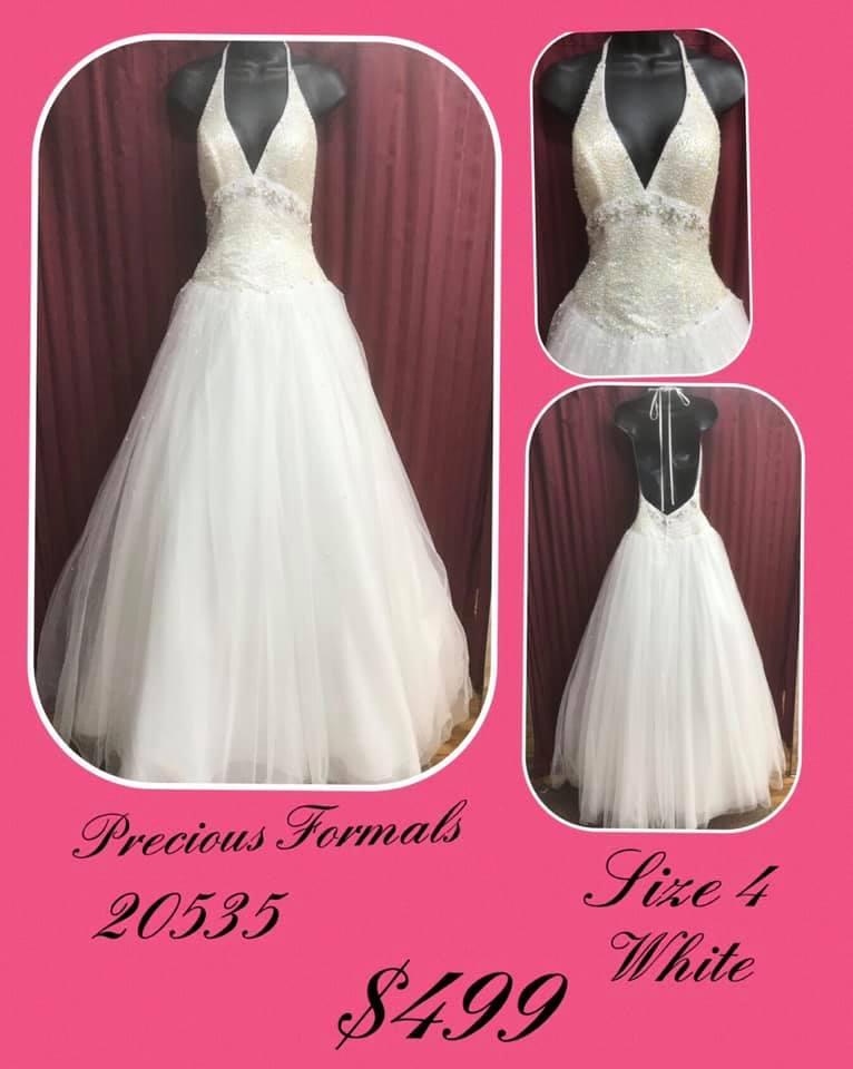 Queenly size 4 Precious Formals White Ball gown evening gown/formal dress